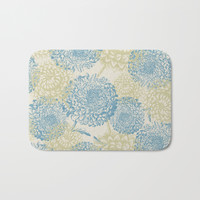 blue and green flowers Bath Mat by sylviacookphotography
