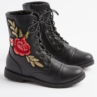 Embroidered Rose Combat Boot By Wild Diva