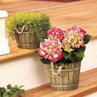 Planter Barrel Cement Realistic Small Large or Set Garden Patio Indoor Outdoor