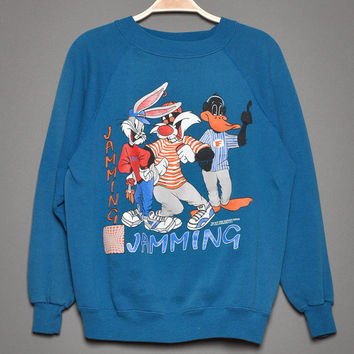 Vintage 1990s Warner Bros Crewneck  Florida Jamming Sweatshirt, By Hanes Her Way, Size Medium