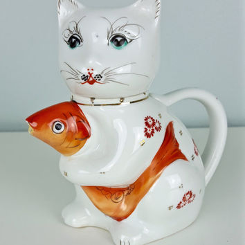 Vintage Cat Teapot, Koi Fish Cat Teapot, Chinese Good Luck Tea Pot, Ceramic Cat Figurine, Collectible Cat, White Cat, Cat and Gold Fish