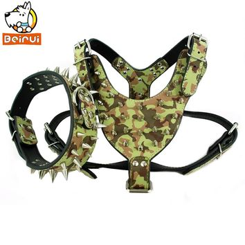 Camouflage Amy Dog Collar and Harness Set Durable Adjustable Spiked Studded Leather Walking Dog Harness for Medium Large Breeds