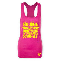 "ViewSPORT — ""Drowned In Their Own Sweat"" Yellow on Berry Racerback Tank"