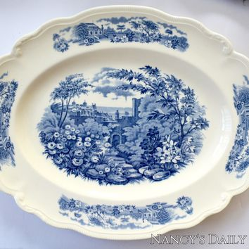 Large Vintage Blue Transferware Scalloped Platter English Country Gardens