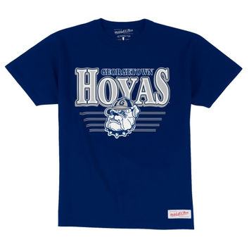 Mitchell & Ness Georgetown Hoyas Metallic Shadow Traditional T-Shirt - Navy Blue