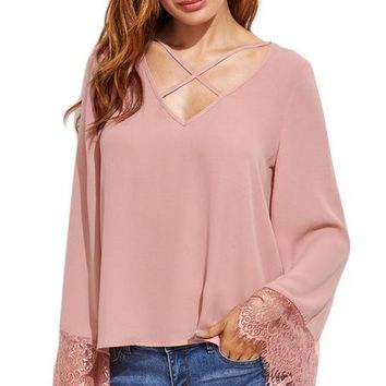 LARALEA LACE TRIM BELL SLEEVE BLOUSE - BLUSH