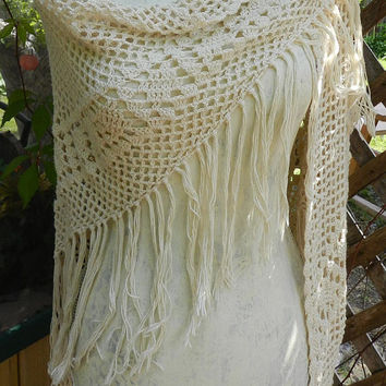 Vintage Beige Crochet Shawl, Long Fringe Wrap Scarf, Hand knit Poncho, Ladies Fashion Accessories Size S/M