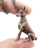 Realistic Doberman Pinscher Puppy Dog Shaped Animal Pendant Necklace in Copper