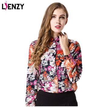 2016 Spring NEW Western Retro Women Blouse Shirts Chiffon Flowers Printed Long Sleeves Women Tops Fashion Thin Clothes