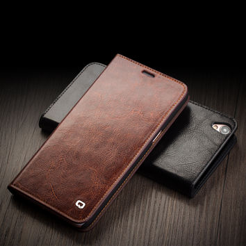 Case For OPPO R9&R9 plus luxury Ultra Slim Genuine Leather Flip Cover for oppo r9 pure handmade case