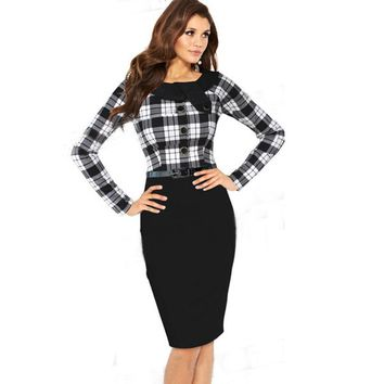 AAMIKAST  Elegant Brand  O-neck Full Sleeve vestido With Button Wear To Work Party Cocktail Pencil Bodycon Women Dress