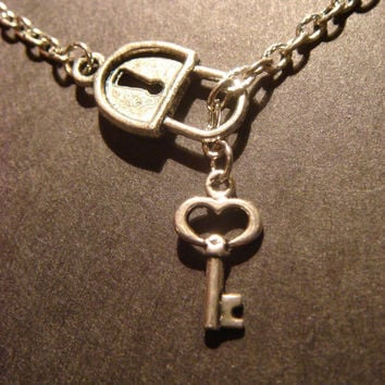 Steampunk Lock and Key Lariat Style Necklace in Antique Silver
