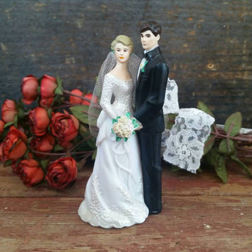 1993 Wedding Cake Topper, Vintage Wilton Bride and Groom, Anniversary, Tux & Gown, Something Borrowed, Valentine's Day, Craft Supplies Props