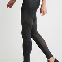 Contrast Mesh-Paneled Leggings