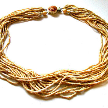 Vintage 1940's MultiStrand Glass Seed Bead by BootsiesWorld