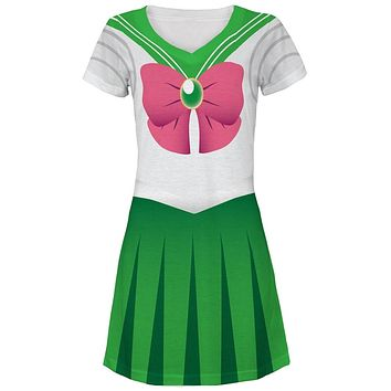 Anime Jupiter Sailor Costume Juniors V-Neck Beach Cover-Up Dress