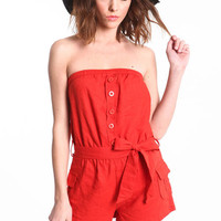 SAFARI STRAPLESS ROMPER