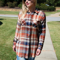 Fall Adventures Plaid Tunic - Rust