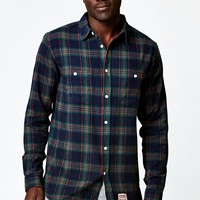 Diamond Supply Co Ox Flannel Long Sleeve Button Up Shirt - Mens Shirts - Blue