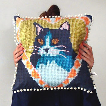 Vintage Style Cat Needlework Pom Pom Cushion Cover - Digitally Printed Embroidered PIllow