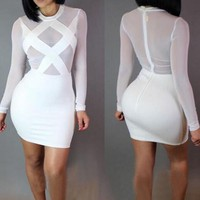 Casual White Splicing Grenadine Bandage Round Neck Bodycon Nightclub Mini Dress