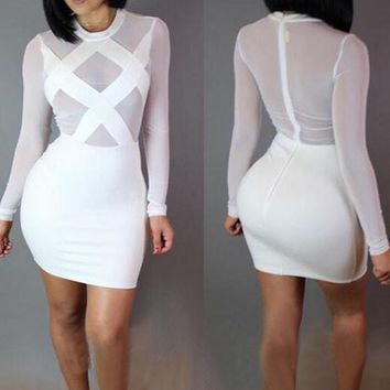 Streetstyle  Casual White Splicing Grenadine Bandage Round Neck Bodycon Nightclub Mini Dress