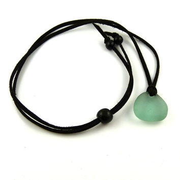 BOHO  Sea Glass and Faux Suede Long Necklace Adjustable Necklace Sea Glass Necklace Beach Jewelry Sea Glass Jewelry