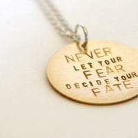 Hand Stamped Metal Necklace - Inspiring Quote