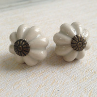 Lovely Grey Pumpkin Ceramic Handles and Knobs Kitchen Cabinet Kids Furniture Bedroom Dresser Drawer Pulls 25mm