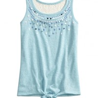Embellished Tie Front Tank