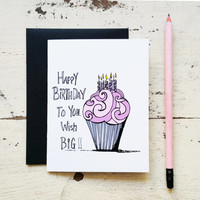 Funny Birthday Card - Wish Big Cupcake Card for Friend - 201504301205