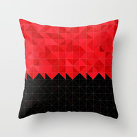 Geometrical Black And Vibrant Red Pattern Throw Pillow by Sheila Wenzel