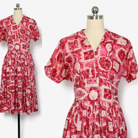 Vintage 50s Pink Silk DRESS / 1950s Abstract Print Fit and Flare Dress