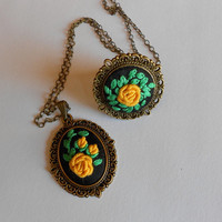 Yellow Rose Jewelry Set, Victorian Necklace, Adjustable Ring