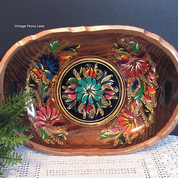 Vintage Handmade Mexican Tole Painted Wood Tray, Tonala Folk Art Tray, Bohemian Style Decor