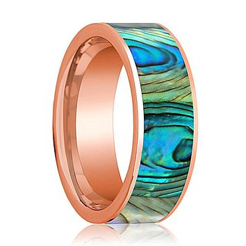 Mens Wedding Band 14K Rose Gold with Mother of Pearl Inlay Flat Polished Design