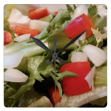 healthy summer salad kitchen clock