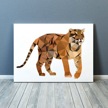 Tiger poster Wall decor Animal print Geometric art TOA82