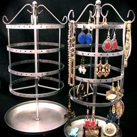 SILVER Earring Jewelry Carousel Metal Stand Holder Organizer Display Tree Tower Spins Large Holds 75-150 Pair All Type