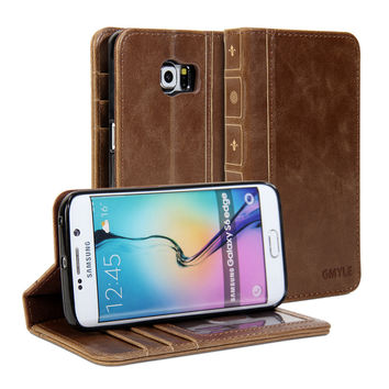 Book Case Vintage for Galaxy S6 Edge
