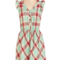 Kensie Mid-length Cap Sleeves A-line Plaid Kudos Dress