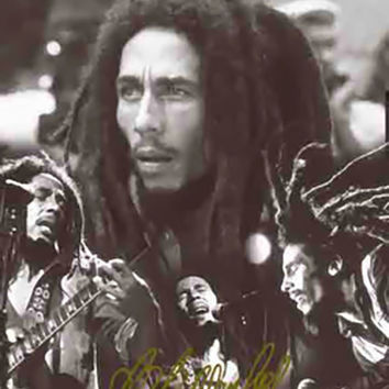 Bob Marley Poster Flag BW Collage Tapestry