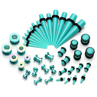 PiercingJ 42 Pieces Acrylic Gauge Kit Tapers Tunnels and Plugs with O Ring 12G-00G Ear Stretching Kit - 21 Pairs