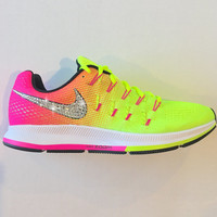 Bling Nike Shoes with Swarovski Crystals * Nike Air Zoom Pegasus 33 OC Olympic 2016 Bedazzled w/100% Authentic Swarovski Crystal Rhinestones