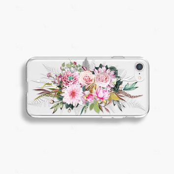 Spring Floral iPhone 8 Case Clear iPhone 8 Plus Case Floral iPhone 7 Plus Clear iPhone X Case Clear Samsung Galaxy S9 Case Samsung Galaxy S8