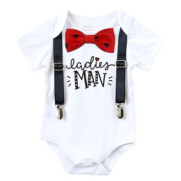 Valentines Day Outfit Baby Boy Heart  Bow Tie Ladies Man