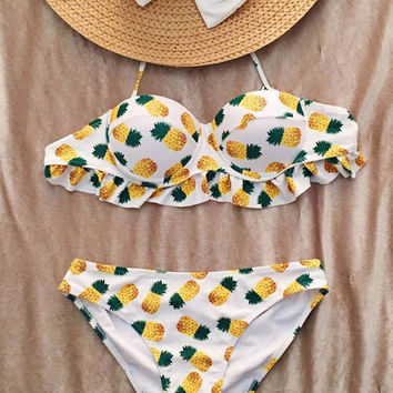 Cupshe You Got Me Pineapple Halter Bikini Set
