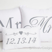 Mr and Mrs Pillow Covers Set with Mini Date Pillow Hand Painted Made in Canada