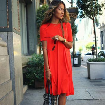 Scoop Loose Pure Color Knee-length Dress