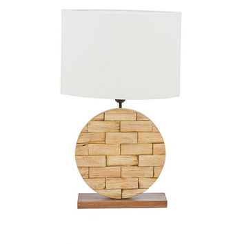 Baxton Studio Budalin Wood & White Linen Lamp Set of 1